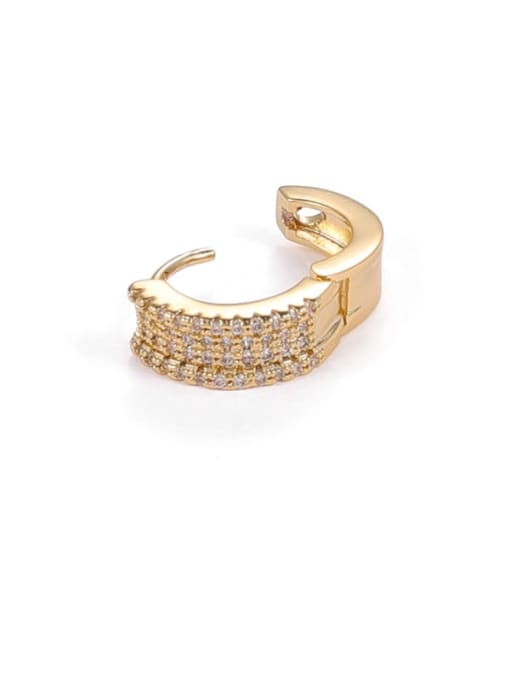 Five Color Brass Cubic Zirconia Geometric Hip Hop Single Earring 3
