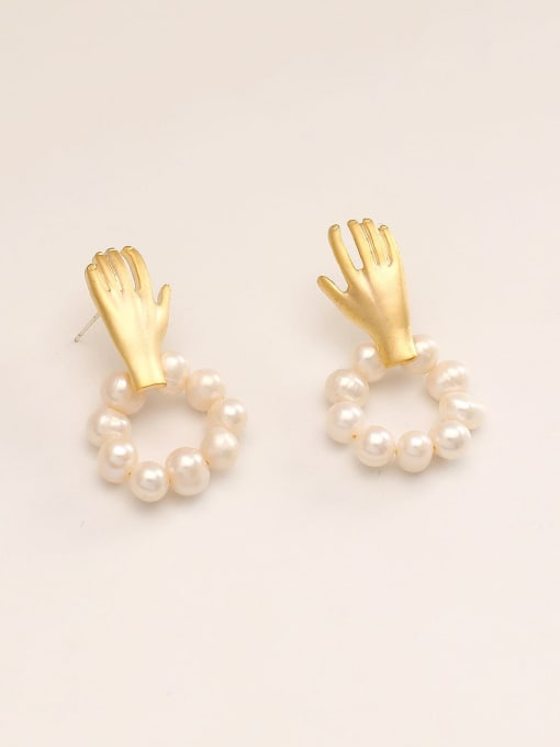 14k Gold Brass Imitation Pearl Irregular Minimalist Stud Earring