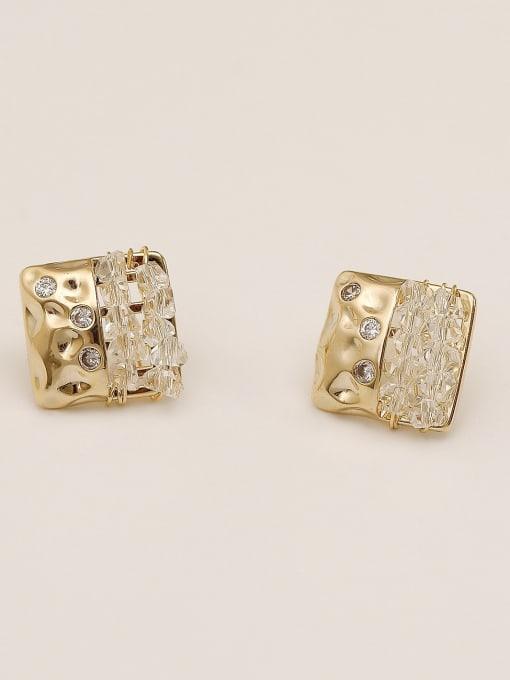 HYACINTH Brass Cubic Zirconia Geometric Vintage Stud Earring 4
