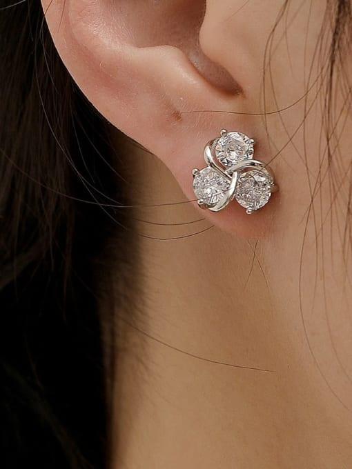 HYACINTH Brass Cubic Zirconia Flower Cute Stud Earring 1
