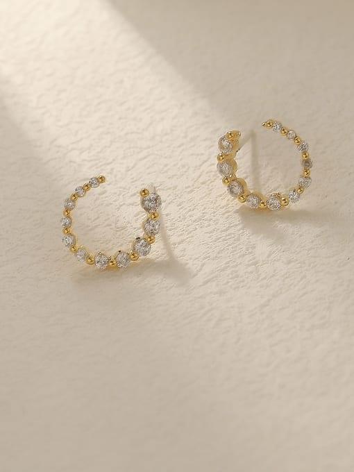 HYACINTH Brass Cubic Zirconia Geometric Minimalist Stud Trend Korean Fashion Earring 0