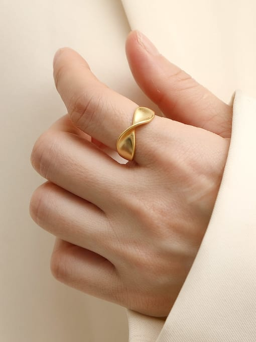 HYACINTH Brass Irregular Minimalist Band Ring 2