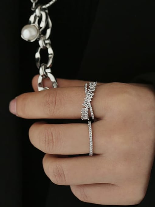 ACCA Brass Cubic Zirconia Geometric Vintage Band Ring 1