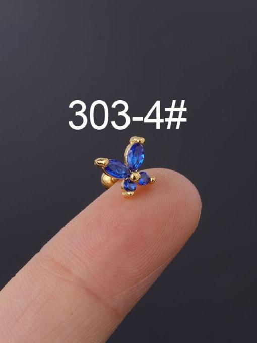 4(Single) Brass Cubic Zirconia Butterfly Cute Stud Earring