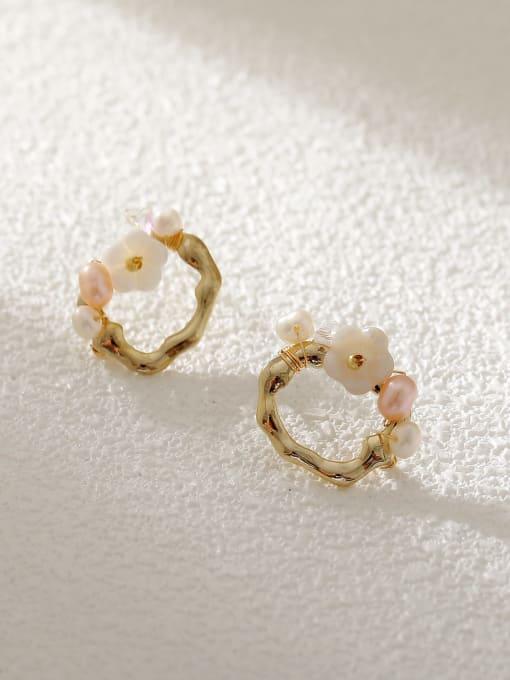 14k Gold Brass Resin Geometric Flower Vintage Stud Earring