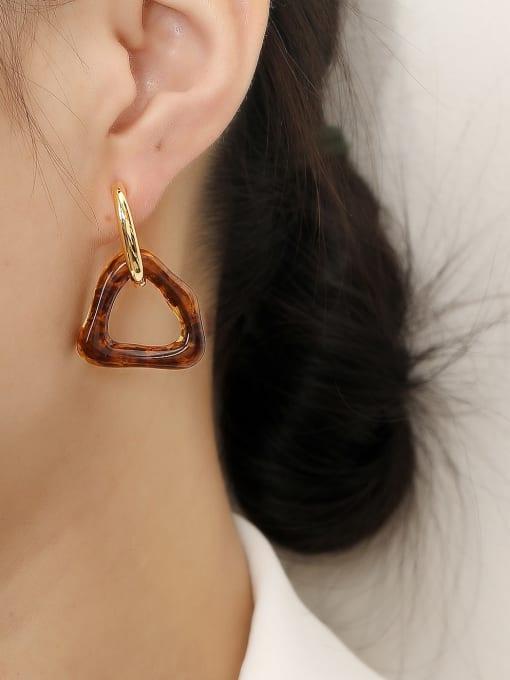 HYACINTH Brass Cubic Zirconia Triangle Vintage Huggie Trend Korean Fashion Earring 1