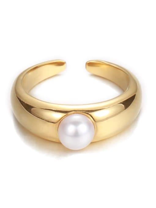 Five Color Brass Imitation Pearl Irregular Minimalist Band Ring 4
