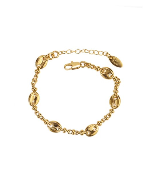 golden Brass Geometric chain Vintage Link Bracelet