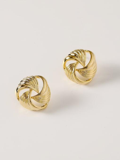 HYACINTH Brass Hollow Geometric Vintage Stud Earring 0