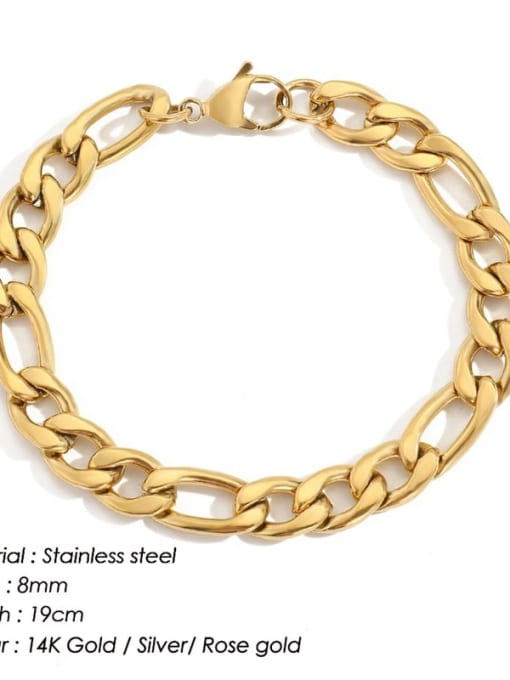 Gold 8mm 19cm Stainless steel Geometric Minimalist Link Bracelet