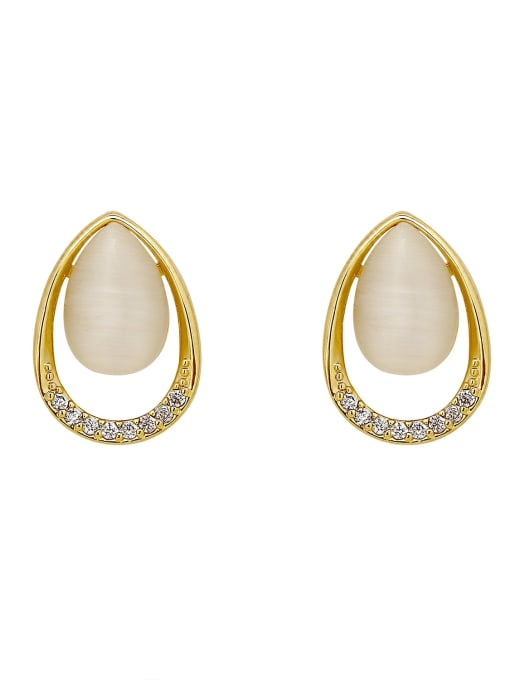 HYACINTH Brass Cats Eye Geometric Vintage Stud Earring 0