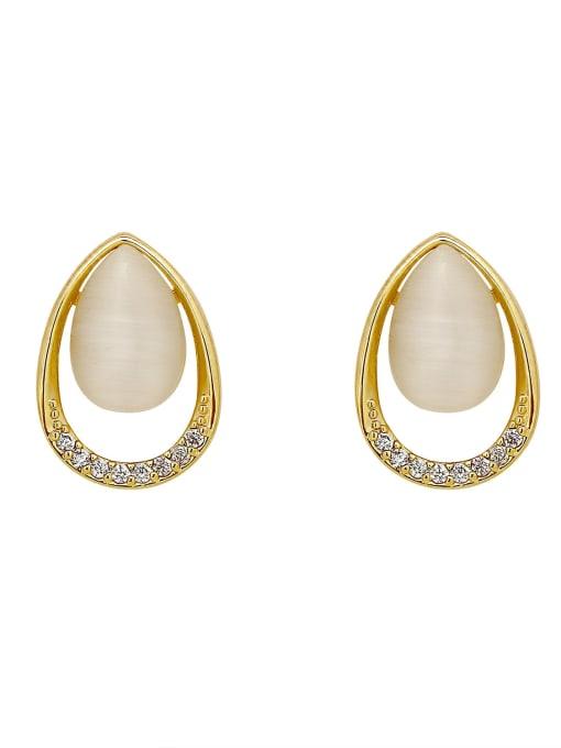 HYACINTH Brass Cats Eye Geometric Vintage Stud Earring