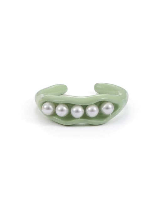 Light green ring (US 6, US7) Zinc Alloy Imitation Pearl Geometric Minimalist Band Ring