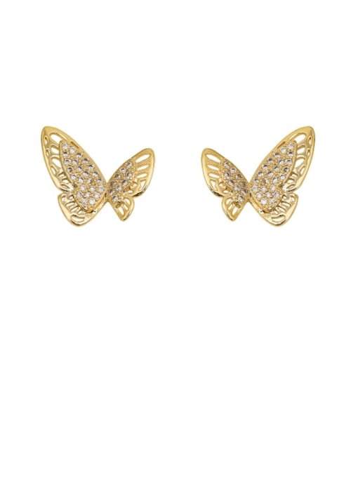 HYACINTH Copper Rhinestone Hollow Butterfly Minimalist Stud Earring 0