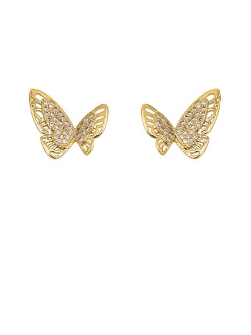HYACINTH Copper Rhinestone Hollow Butterfly Minimalist Stud Earring