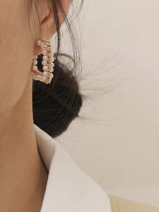 HYACINTH Brass Imitation Pearl Geometric Vintage Stud Earring 1