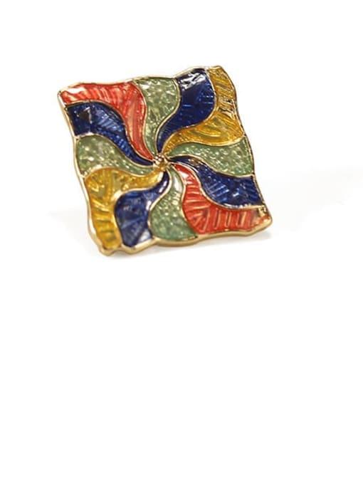 Five Color Alloy Enamel Geometric Ethnic Stud Earring 2