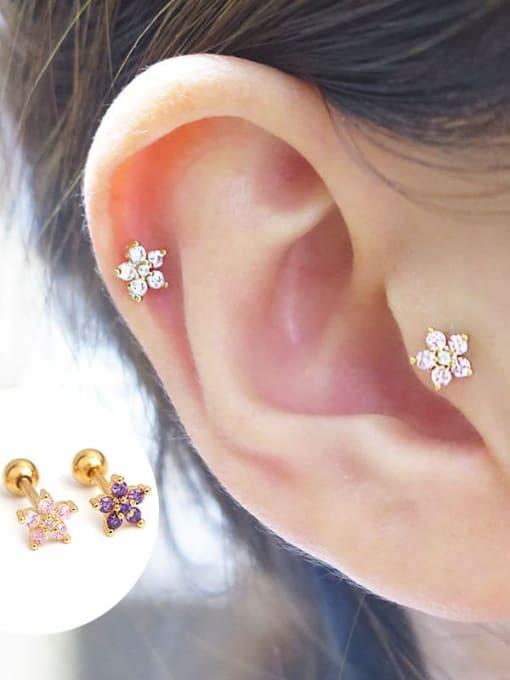 HISON Brass Cubic Zirconia Flower Minimalist Stud Earring 2