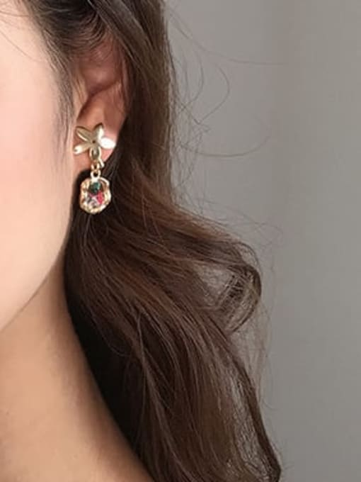 Five Color Alloy Enamel Geometric Vintage Drop Earring 2
