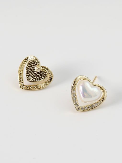 HYACINTH Brass Imitation Pearl Heart Minimalist Stud Earring 3