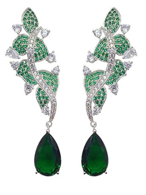 OUOU Brass Cubic Zirconia Flower Luxury Drop Earring 0