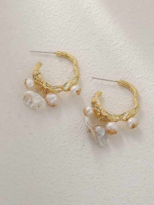 HYACINTH Brass Imitation Pearl Geometric Vintage Huggie Trend Korean Fashion Earring 2