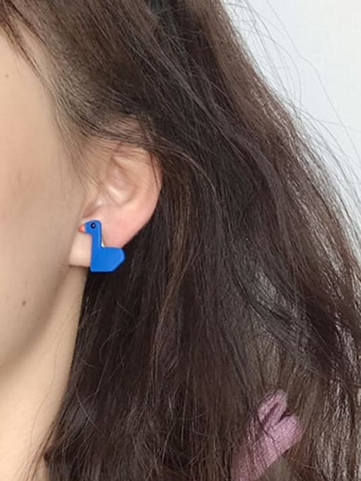 Five Color Alloy Enamel  Cute  Blue asymmetric cartoon cute little duck  Stud Earring 1