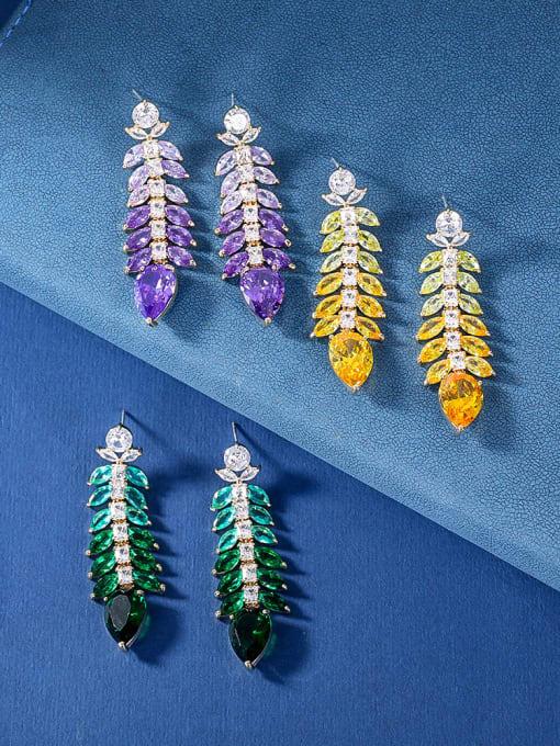 OUOU Brass Cubic Zirconia Leaf Luxury Drop Earring 1