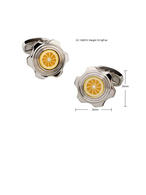 ThreeLink Brass Enamel Friut lemon Vintage Cuff Link 2