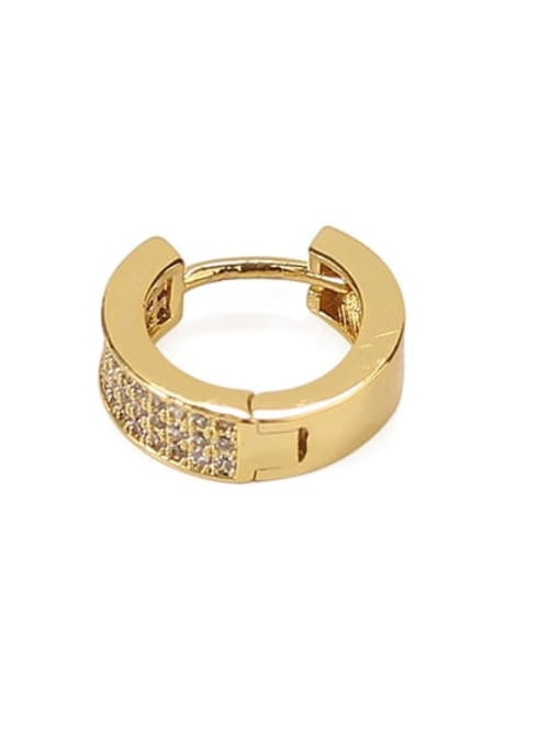 Golden (ONLY ONE PCS) Brass Cubic Zirconia Geometric Vintage Huggie Earring(ONLY ONE PCS)