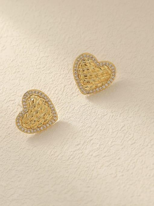 HYACINTH Brass Cubic Zirconia Heart Minimalist Stud Trend Korean Fashion Earring