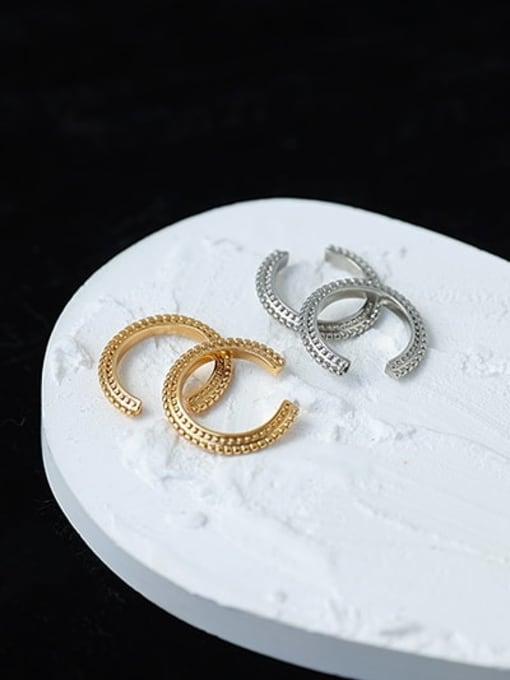 ACCA Brass Geometric Hip Hop Single  Ear clip Earring 2