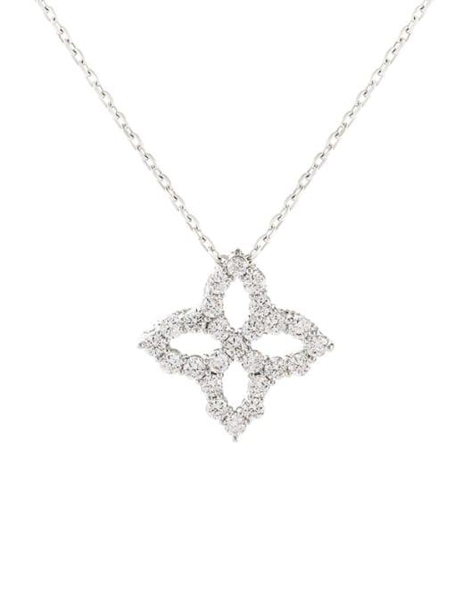 YILLIN Brass Cubic Zirconia Minimalist Clover  Pendant Necklace