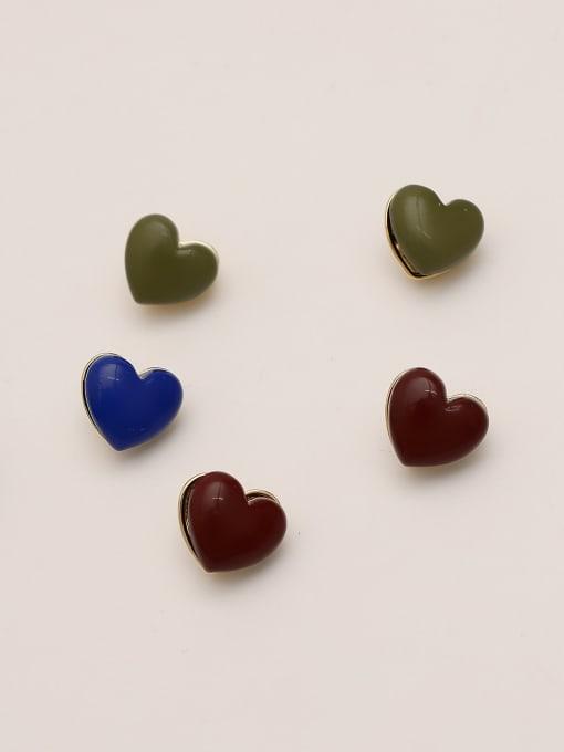 HYACINTH Brass Enamel Heart Minimalist Stud Earring