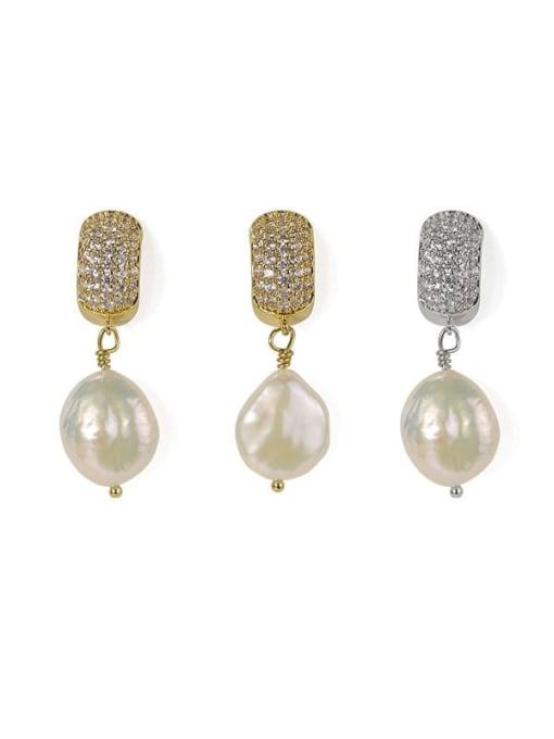 ACCA Brass Freshwater Pearl Geometric Classic Chandelier Earring 4