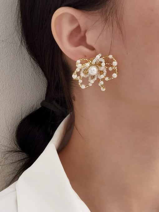 HYACINTH Brass Imitation Pearl Flower Statement Stud Earring 1