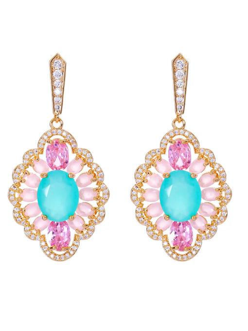 Green jade Brass Cubic Zirconia Geometric Luxury Drop Earring