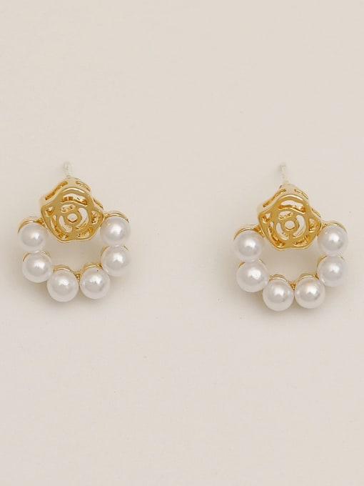 14k Gold Brass Imitation Pearl Flower Vintage Drop Earring
