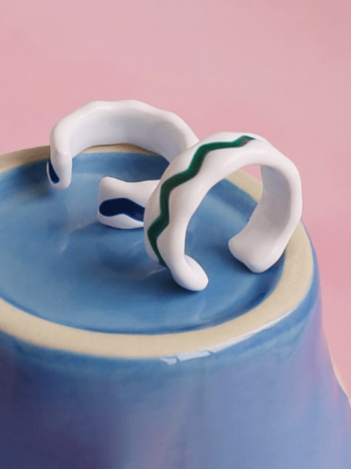 Five Color Brass Enamel Geometric Minimalist Band Ring