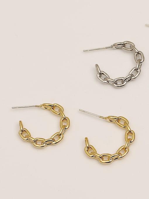 HYACINTH Brass Hollow Geometric Minimalist Hoop Earring 0