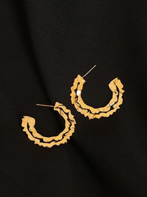 Gear (vacuum plating) Brass Geometric Vintage C-shaped big ear ring Hoop Earring