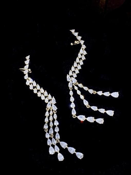 SUUTO Brass Cubic Zirconia Tassel Trend Single Earring 0