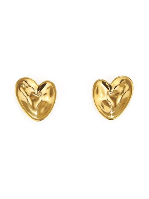 ACCA Brass Smooth Heart Vintage Stud Earring