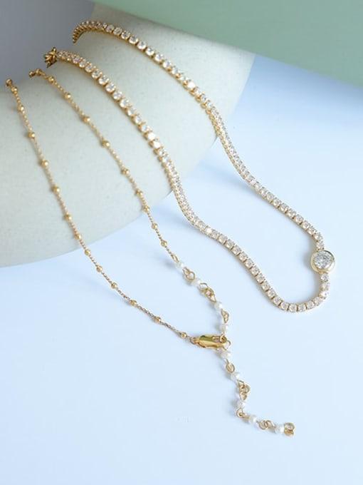 Five Color Brass Cubic Zirconia Geometric Vintage Necklace 0