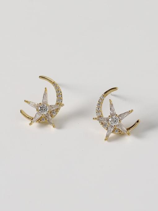 14k Gold Brass Cubic Zirconia Moon Minimalist Stud Earring