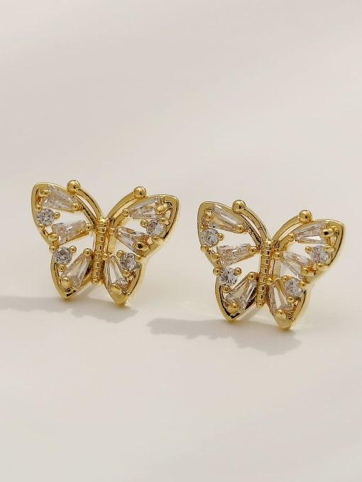 HYACINTH Brass Imitation Pearl Butterfly Vintage Stud Earring