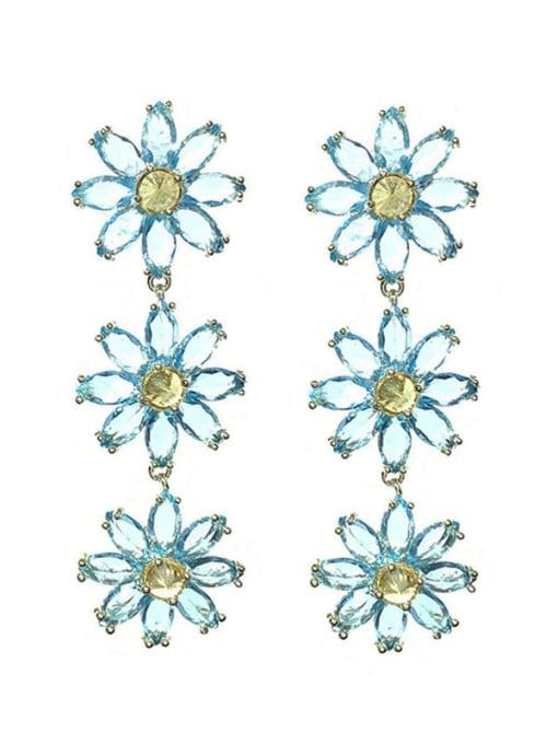 SUUTO Brass Cubic Zirconia Flower Trend Drop Earring 4
