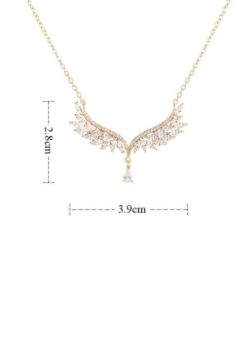 YILLIN Brass Cubic Zirconia Wing Minimalist Necklace 3