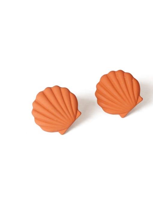 orange Alloy Enamel Geometric Shell Cute Stud Earring