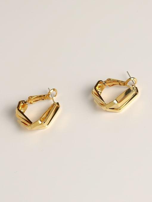 14k Gold Brass Geometric Minimalist Huggie Earring
